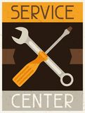 Service center. Retro poster in flat design style Stock Images