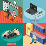 Service Centre 2x2 Design Concept. With customer support and repair of gadgets devices and household appliances square compositions isometric vector Stock Photography