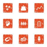 Service certificate icons set, grunge style. Service certificate icons set. Grunge set of 9 service certificate vector icons for web isolated on white background Royalty Free Stock Photography