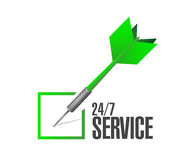 24-7 service check dart sign concept Stock Photography