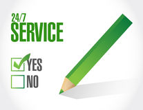 24-7 service check list sign concept Stock Images