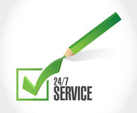 24-7 service check list sign concept Royalty Free Stock Photos
