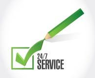 24-7 Service-Check-Listen-Zeichenkonzept Lizenzfreie Stockfotos