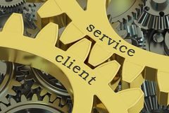Service client concept on the gearwheels, 3D rendering Stock Images