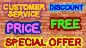 Service client, remise, prix, offre gratuite et spéciale Image libre de droits