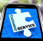 Service client sur Smartphone montrant l'appui en ligne Photo libre de droits