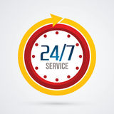 24/7 Service. Clock 24 hours a day and 7 days service sign graphic vector Stock Image