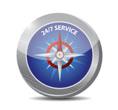 24-7 service compass sign concept Stock Photos