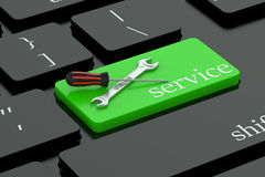 Service concept on green keyboard button Stock Images