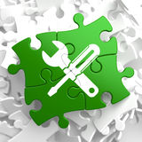 Service Concept on Green Puzzle Pieces. Royalty Free Stock Photography