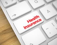 Health Insurance - Message on the White Keyboard Keypad. 3D. Service Concept: Health Insurance on Aluminum Keyboard lying on the Wood Background. Health Stock Photography