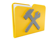 Yellow folder with wrench and hammer. Service concept icon. Yellow folder with wrench and hammer on a white background Royalty Free Stock Photography