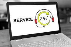 Service concept on a laptop stock photography