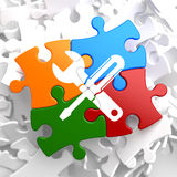Service Concept on Multicolor Puzzle. Royalty Free Stock Photo