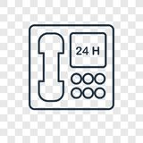 24 Service concept vector linear icon isolated on transparent ba. Ckground, 24 Service concept transparency concept in outline style stock illustration