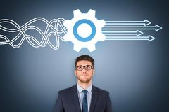 Service Concepts over Business Person on Visual Screen. Business working concepts royalty free stock image