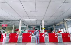 Service Counters at Bangpoo Post Office Thailand. Bangpoo, Samut Prakan / Thailand - March 11, 2019: Service Counters at Bangpoo Post Office stock images