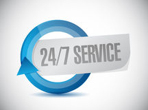 24-7 service cycle sign concept. Illustration design icon graphic Royalty Free Stock Photos