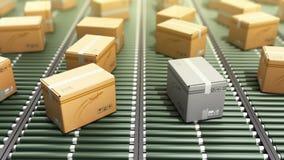 Service d'emballage de la livraison de paquets et transport modernes de colis Image libre de droits