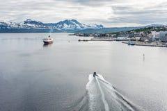 Service d'expédition de Hurtigruten en Norvège Photos libres de droits