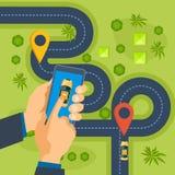 Service d'ordre de taxi Ordre en ligne de taxi, appel par le téléphone, application Illustration Libre de Droits
