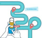 Service d'ordre de taxi Taxi en ligne, appel par le téléphone, application mobile Illustration de Vecteur