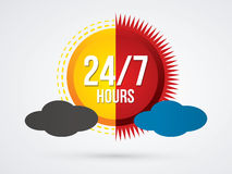 24/7 service. Day and night , 24 hours a day and 7 days service sign graphic vector Royalty Free Stock Photos