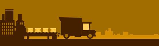 Service de distribution de camion, bannière d'usine de Lorry Car Drive Road Big avec l'espace de copie Photographie stock