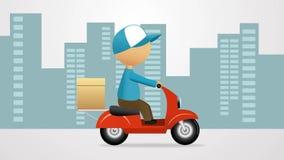 Service de distribution Homme de bande dessinée montant un scooter avec la boîte de la livraison autour de la ville illustration de vecteur