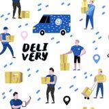 Service de distribution, industrie de cargaison Messager Characters Set dans différentes poses Travailleurs postaux dans l'unifor Illustration Stock