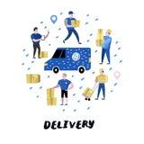 Service de distribution, industrie de cargaison Messager Characters Set dans différentes poses Travailleurs postaux dans l'unifor Photographie stock libre de droits