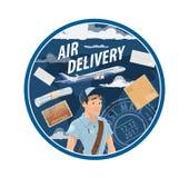 Service de distribution de la poste aérienne de courrier, facteur illustration de vecteur