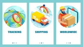 Service de distribution mondial et concept de système de piste illustration stock