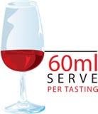 Service de l'échantillon 60ml de vin rouge Photographie stock libre de droits