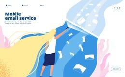 Service de messagerie électronique mobile Sécurité de commercialisation de filtrage de courrier de boîte aux lettres de protectio illustration de vecteur
