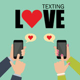 Service de mini-messages d'amour et media social datant la causerie Photo stock