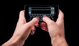Service de mini-messages de femme sur le smartphone Photos stock