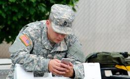 Service de mini-messages de soldat Photos stock