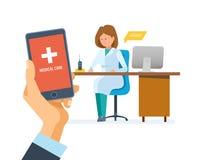 Service de mobile de soins de santé Conseiller mobile Main tenant le smartphone avec l'application Illustration Stock