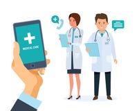 Service de mobile de soins de santé Conseiller mobile Main tenant le smartphone avec l'application Illustration de Vecteur