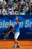 Service de Novak Djokovic contre Lukasz Kubot Photo stock