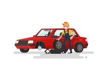 Service de pneu Travailleur changeant un pneu perforé une voiture de tourisme illustration libre de droits