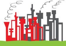 Service de raffinerie de pétrole dans un domaine vert illustration stock