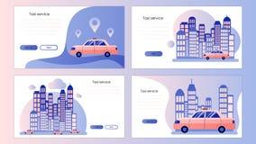 Service de taxi Calibre d'?cran pour le t?l?phone intelligent mobile, page de d?barquement, calibre, ui, Web, appli mobile, affic illustration stock