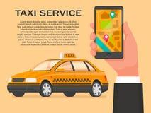Service de taxi Commandez une cabine par l'application sur votre smartp Illustration Stock
