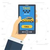 Service de taxi d'appel de main d'homme d'affaires par le téléphone intelligent illustration libre de droits
