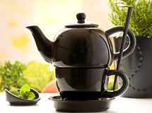 Service de thé, lames de menthe et romarin photos libres de droits