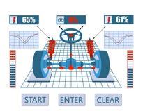 Service de véhicule Image du diagramme d'ensemble du véhicule s sur le support Test et réglage des amortisseurs et illustration de vecteur