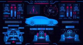 Service de véhicule Interface graphique Alignement diagnostique des roues Contrôle des choc-amortisseurs, le dispositif de direct Photo libre de droits