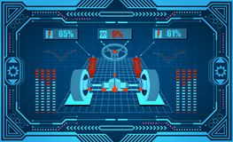 Service de véhicule Interface graphique dans un cadre stylisé Alignement diagnostique des roues, amortisseurs Illustration illustration de vecteur